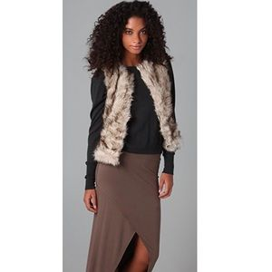 BB Dakota Garrett Faux Fur Vest in Chalk White